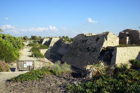 caesarea: Ruins of city wall of ancient Caesarea in Israel