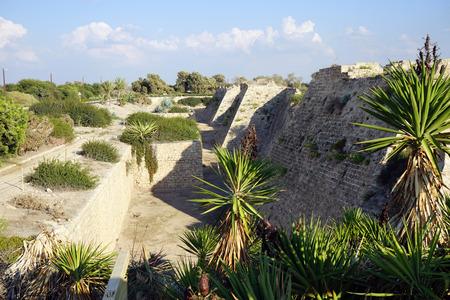 caesarea: Walls of city fortification in ancient Caesarea, Israel Stock Photo