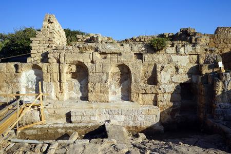 caesarea: Inside ruins of ancient temple in roman Caesarea, Israel