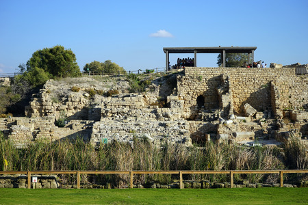 crusaders: Ruins of temple in ancient Caesarea, Israel