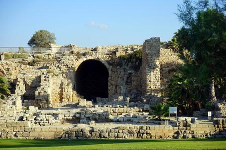 caesarea: Ruins of big temple in roman Caesarea, Israel