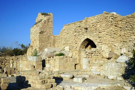 crusaders: Main gate of fortress in Caesarea, Israel Stock Photo