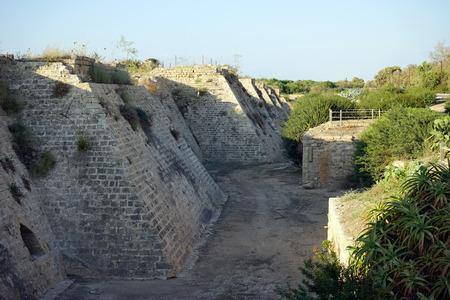 crusaders: City walls of Caesarea in Israel Stock Photo