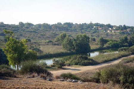 nahal: River in Nahal Alexander national park in Israel Stock Photo