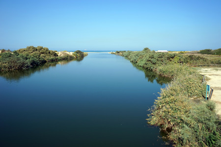 Mediterranean sea and mouth of river in Nahal Alexander national park in Israel Stock Photo