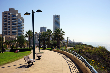 NETANYA, ISRAEL - CIRCA OCTOBER 2014 Embankment