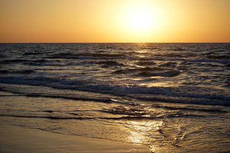 Sunset on the Mediterranean coast of Israel photo