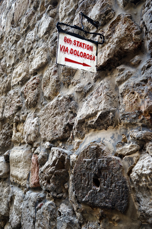 dolorosa: Sign of Via Dolorosa on the stone wall in Jerusalem, Israel