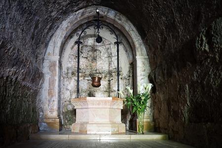 ein: Marble well in Visitation church in Ein Karem, Isrsel Editorial