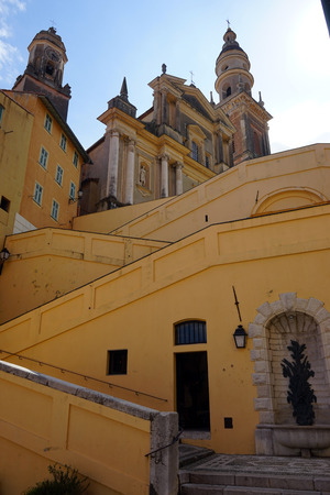 menton: Staircase and church in Menton, France