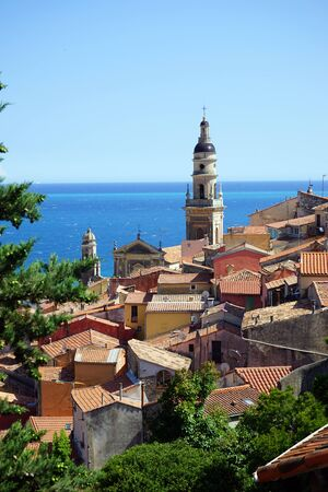 menton: Buildings and Saint-Michel church in Menton, France