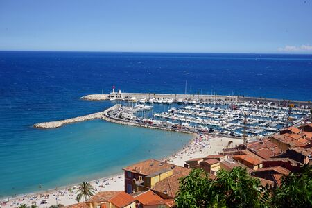 menton: Port and beach in Menton, France Stock Photo