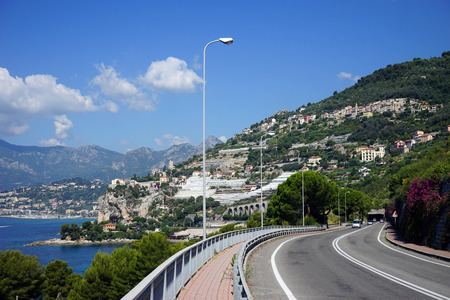 menton: Rosd on the Mediterranean coast near Menton, France