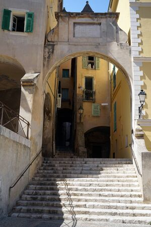 menton: Arch and staircase in Menton, France Stock Photo