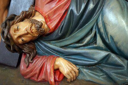 crist: SPAICHINGEN, GERMANY - CIRCA AUGUST 2015 Statue of Crist inside Dreifaltigkeitsberg church