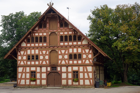 fachwerk: ST JOHANN, GERMANY - CIRCA AUGUST 2015 Old fachwerk house