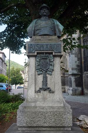 bust: BAD URACH, GERMANY - CIRCA AUGUST 2015 Otto von Bismarck bust. Otto Eduard Leopold, Prince of Bismarck, Duke of Lauenburg.