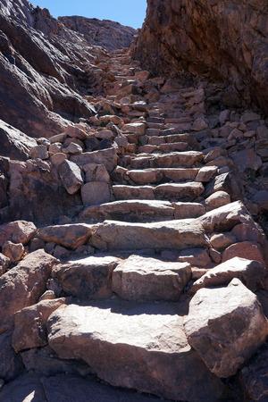 monte sinai: Stone steps on the top of mount Sinai, Egypt