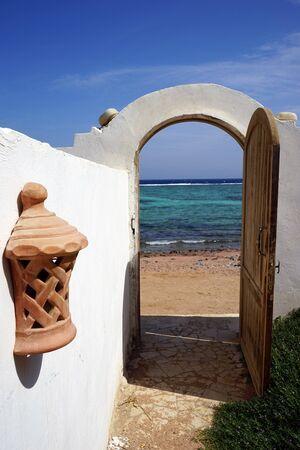 dahab: Open door on the sand beach in Dahab, Egypt