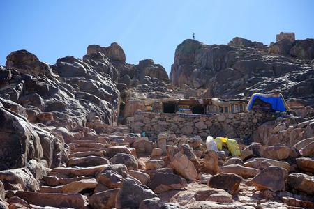monte sinai: Escalones hasta la cima del Monte Sina� en Egipto