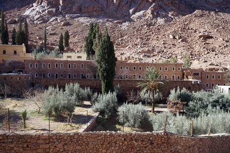 monte sinai: Garden in Sacred Monastery of the God-Trodden Mount Sinai Foto de archivo