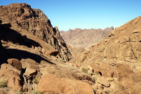sinai: Shadows on the mount Sinai in Egypt