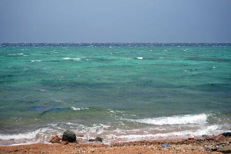 dahab: Windy day on the coast in Dahab, Egypt Stock Photo