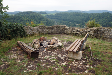 stone fireplace: Stone wall and fireplace in Ruine Grefenstein in Swabia, Germany Stock Photo