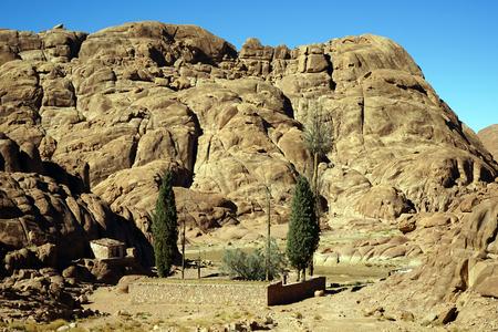 monte sinai: Pequeño oasis con cerca de piedra en el monte Sinaí en Egipto Foto de archivo