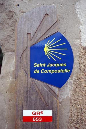 jacques: CASTRES, FRANCE - CIRCA JULY 2015 Sign of Chemin Saint Jacques de Compostelle