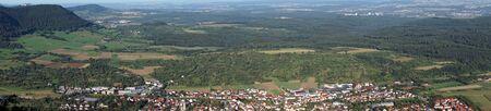 teck: Owen town in green valley near castle Teck. Germany Stock Photo
