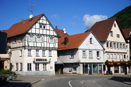 fachwerk: BAD URACH, GERMANY - CIRCA AUGUST 2015 Houses on the street