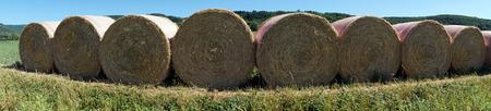 stubble field: Straw rolls on the stubble field in France Stock Photo