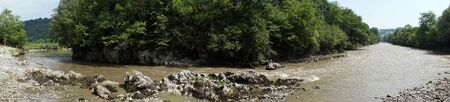 gave: Panorama of river Gave de Pau and trees