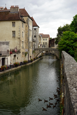 dole: Canal and buildings in Old town Dole, France