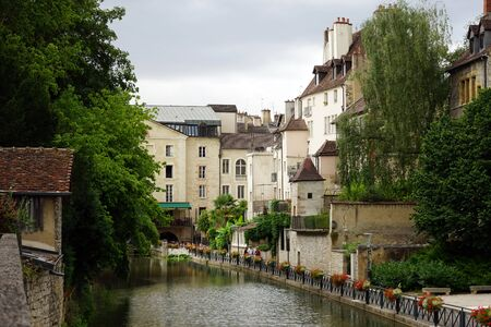 dole: Canal in Old town Dole, France