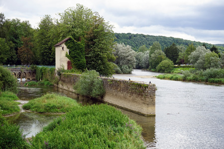 Ruins of old dam in LIsle Sur Le Doubs, FRANCE