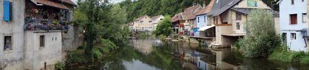 LISLE SUR LE DOUBS, FRANCE - CIRCA JULY 2015  Panorama of river Doubs Editorial
