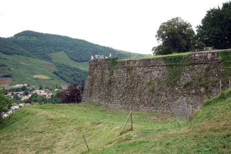 travel features: ST JEAN PIED DE PORT, FRANCE - CIRCA JULY 2015 Wall of old fortress