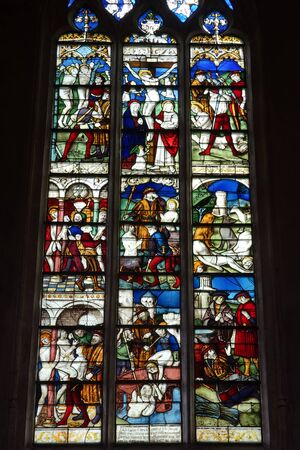 crist: BOURG EN BRESSE, FRANCE - CIRCA JULY 2015 Stained glass in church