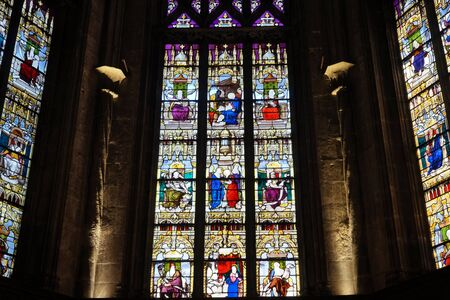 crist: BOURG EN BRESSE, FRANCE - CIRCA JULY 2015 Stained glass and wall of church