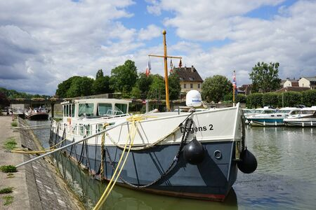 DOLE, FRANCE - CIRCA JULY 2015 Ship on the river Doubs Editorial