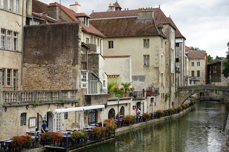 dole: DOLE, FRANCE - CIRCA JULY 2015 Buildings and canal in Old town Editorial