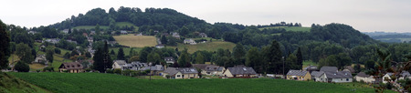 rance: Panorama of Asson town in France