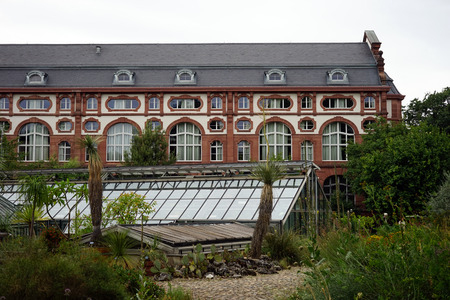 univercity: BASEL, SWITZERLAND - CIRCA AUGUST 2015 Botanical garden and univercity building
