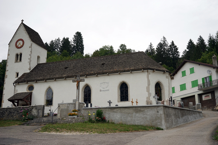 crucify: SOUBEY, SWITZERLAND - CIRCA JULY 2015 Parish church