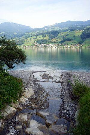 beack: River and Sarnersee lake near Sachseln in Switzerland