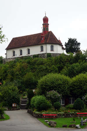 klaus: Ranftkapelle on the top of hill. Flueli-Ranft was the home of hermit and ascetic Niklaus von Flue, also known as Brother Klaus. Stock Photo