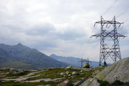 isolator high voltage: Pylons on the Saint Gotthard Pass in Switzerland