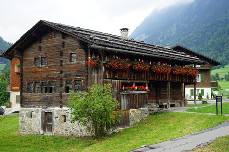 SORENBERG, SWITZERLAND - CIRCA AUGUST 2015 Wooden farm houses